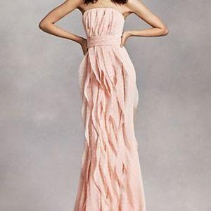 Vera Wang blush chiffon strapless bridesmaid dress